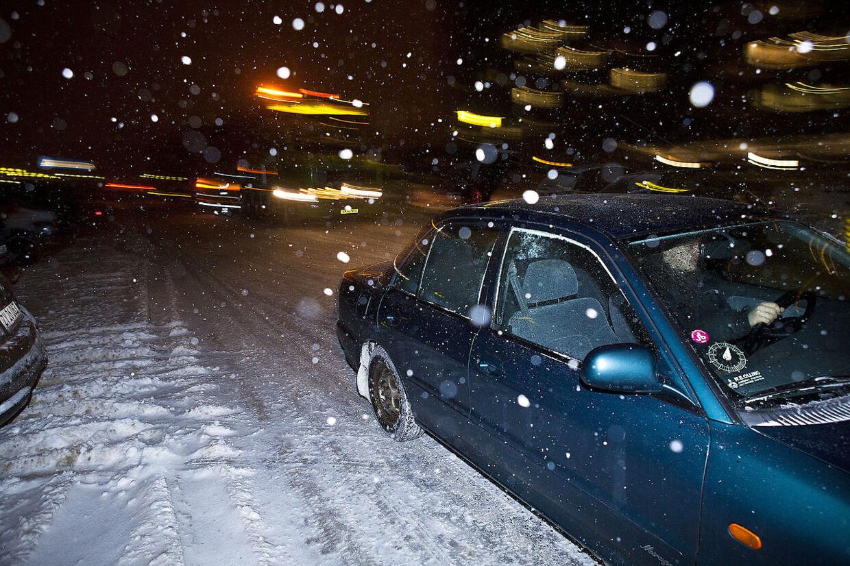 Sne på vej ind over Danmark. Arkivfoto