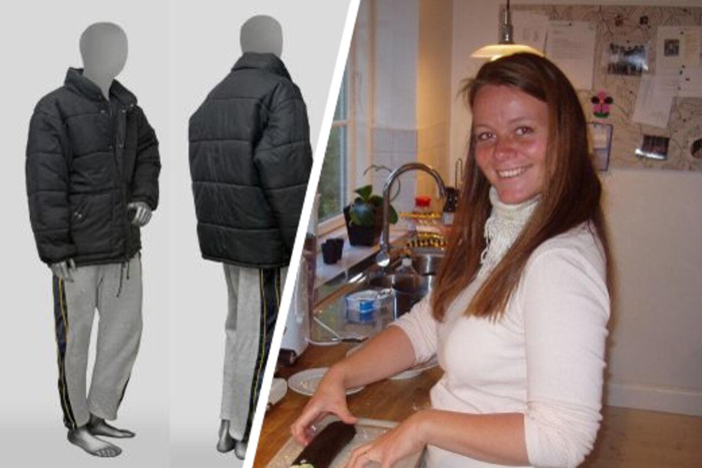 Politiet efterlyser kendskab til denne jakke og disse bukser, som Heidis morder efterlod på drabsstedet.