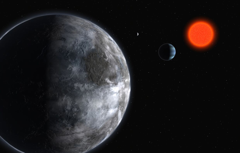 Sådan forestiller en kunstner sig, at planeten Gliese 581 ser ud.