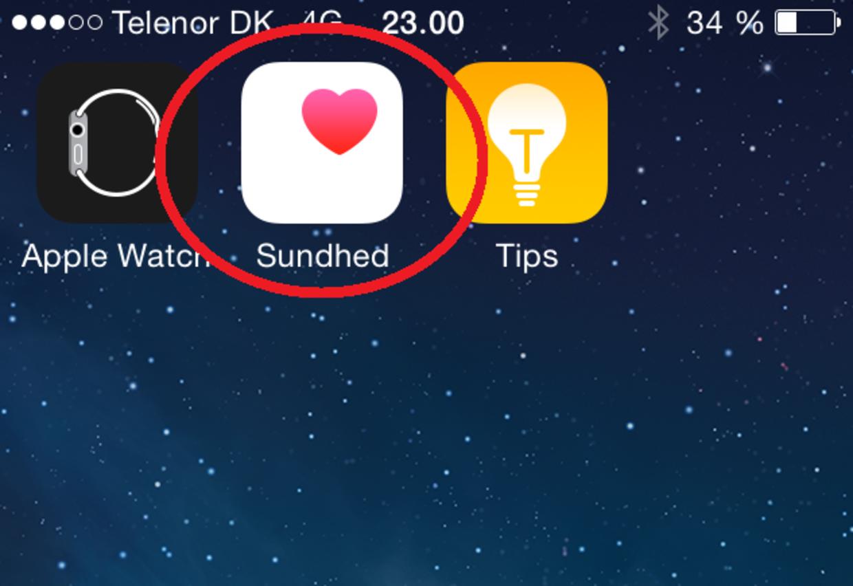 App'en hedder 'Sundhed' og har et hjerte på ikonet.