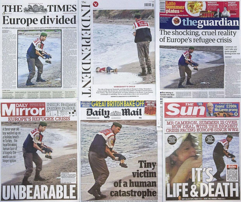 Forsider på flere britiske aviser. Alle med 3-årige Aylan Kurdi.