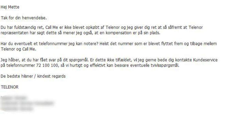Her bekræfter Telenor, at de ikke har opkøbt Call Me, selvom Telenor-sælgeren ifølge Mette Plandsbjerg Larsen hævdede det.