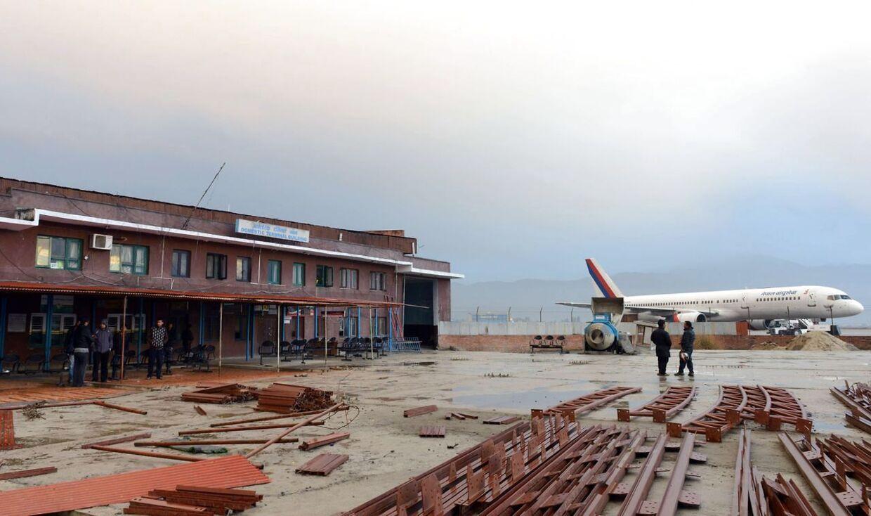 Lufthavnen i Kathmandu.