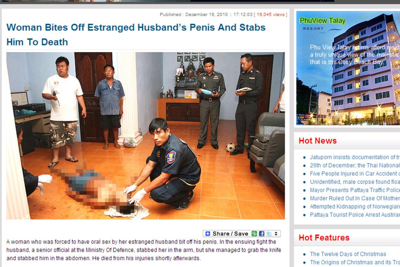 Politiet fandt den 47-årige eksmand i en sø af blod på gulvet, skriver pattayadailynews.com