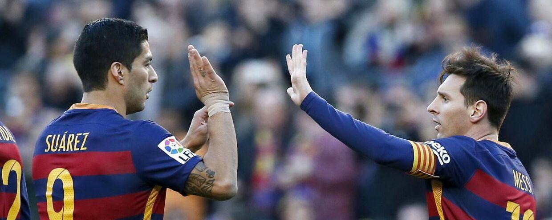 Luis Suarez (tv) har spillet noget af sit livs bedste fodbold, efter han kom til Barcelona for halvandet år siden.