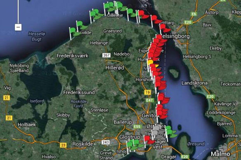 Badevandet er forurenet fra København og hele vejen op til Hornbæk, ifølge prognosen fra Københavns Kommune. De røde flag markerer, hvor badning frarådes.