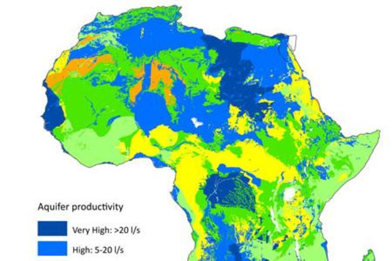 Britiske forskere har kortlagt, hvor i Afrika der findes vand i undergrunden. Kortet her viser, hvor der er mest og mindst.