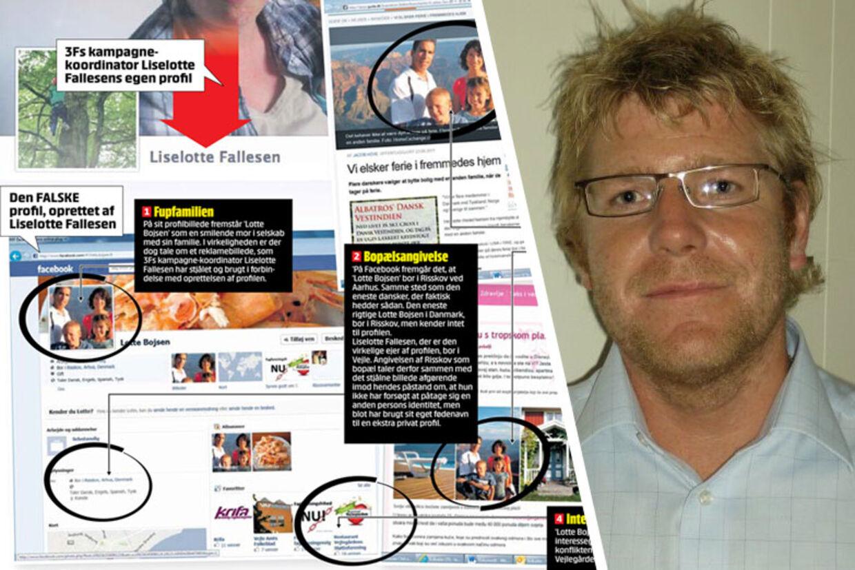 Lokalformand for 3F Vejle Martin Jensen (billedet), har svært ved at forklare, hvorfor kampagnekoordinatoren oplyser en falsk adresse på profilen. Få et overblik over 3F's Facebook-snyd ved at følge linket i teksten nedenfor.