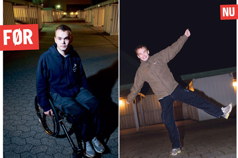FØR: Indtil for to uger siden var 18-årige Harald Hornså bundet til denne kørestol. Han var lam i mere end et halvt år efter den tidligere helbredelse. EFTER: Harald Hornså har ikke siddet ned siden det helbredende besøg hos hypnotisøren. Han håber nu, at lammelsen er væk en gang for alle.
