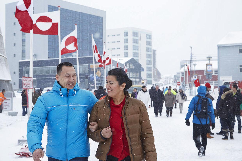 Valg til Inatsisartut/Landstingsvalg 2013. Aleqa Hammond, og hendes kæreste Tom Ostermann som begge stille op for Siumut i Nuuk, ved Inatsisartut/Landstingsvalget 2013, tirsdag den 12. marts . (Foto: Photographer: Ulrik Bang / BANG./Scanpix 2013)