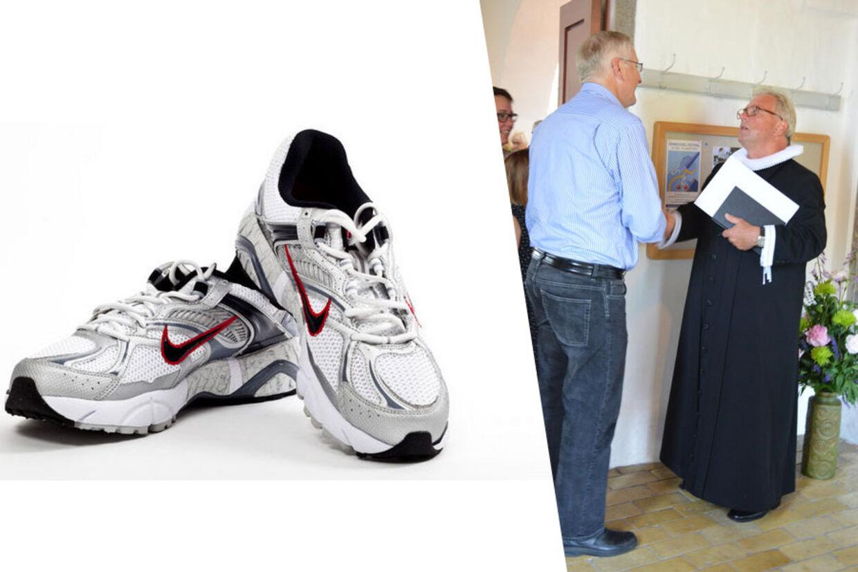 Præst Michael Schwensen fra Tversted Kirke i Nordjylland er blevet påbudt at gå i sorte sko. Men han ville hellere have et par hvide kondisko på.