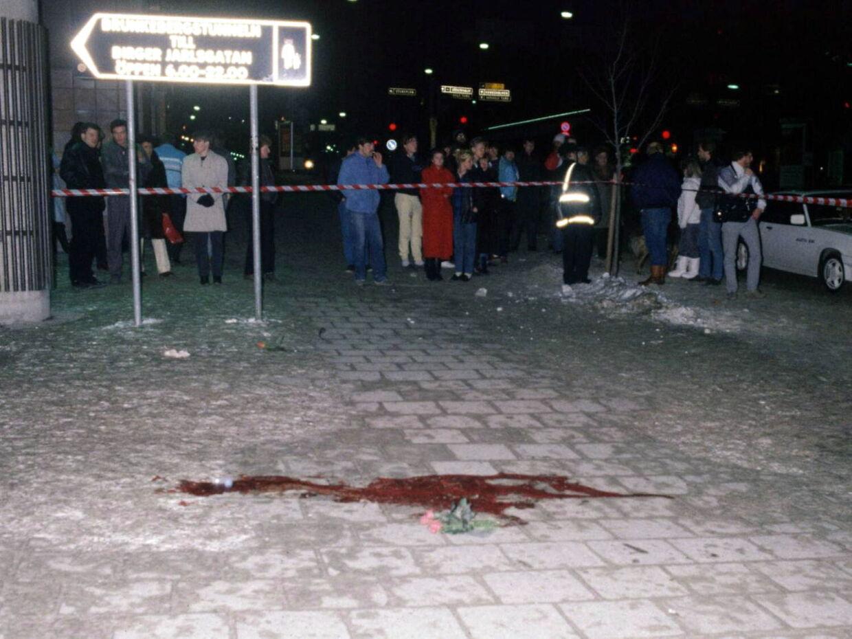 Arkivfoto af gerningsstedet den 1. marts 1986 - dagen efter mordet på Olof Palme.