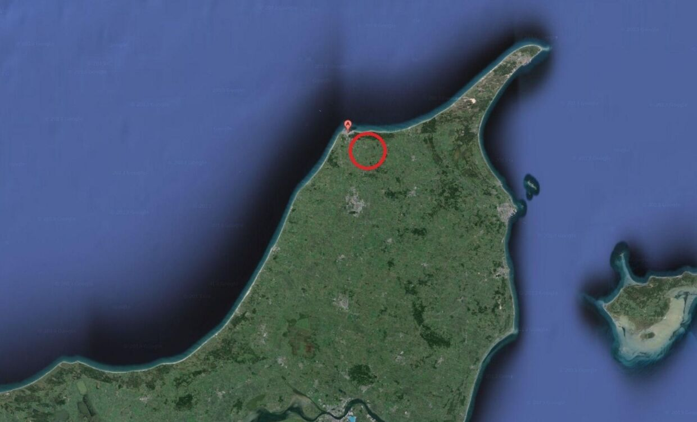 Torsdag eftermiddag skete der en ulykke sydøst for Hirtshals i Nordjylland, der er markeret med et 'A'.