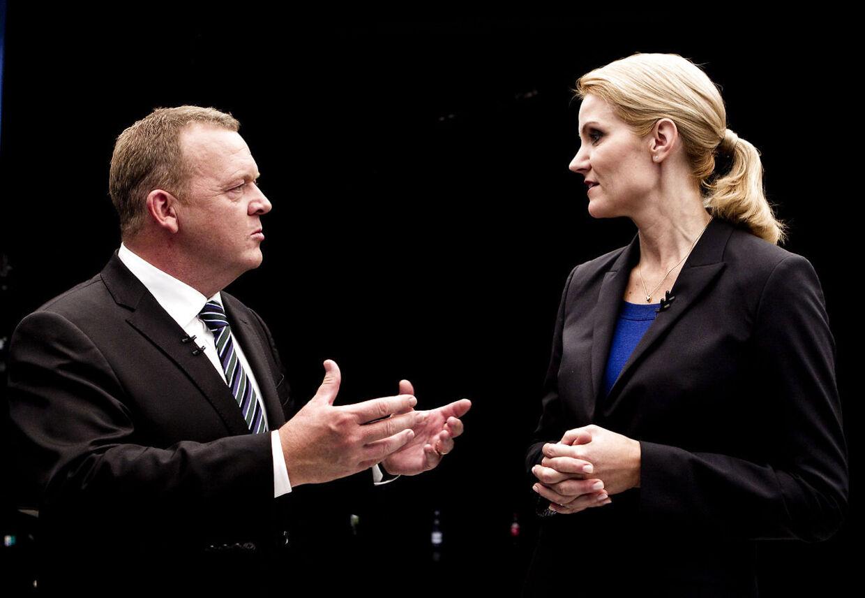 Her ses Venstres Lars Løkke Rasmussen og Socialdemokraternes Helle Thorning-Schmidt (arkivfoto).