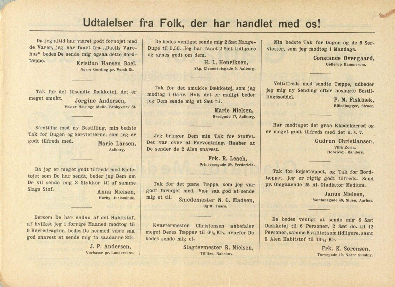 I mange år bragte Daells Varehus takkebreve fra glade og veltilfredse kunder. I dette katalog fra 1911, skriver Marie Nielsen fra Aalborg f.eks.: - Tak for det smukke Dækketøj, som jeg modtog i Gaar. Hvis det er muligt, beder jeg Dem sende mig et Sæt til. Foto: Småtrykssamlingen på Det Kongelige Bibliotek