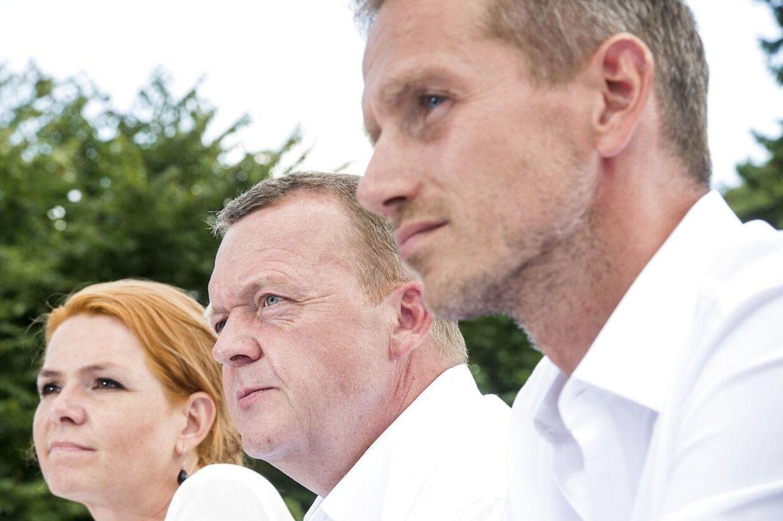 Arkivfoto af Inger Støjberg, Lars Løkke Rasmussen og Kristian Jensen.