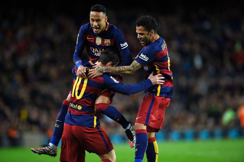Lionel Messi fejrer sin scoring til 1-0 for FC Barcelona i hjemmekampen mod Celta Vigo.