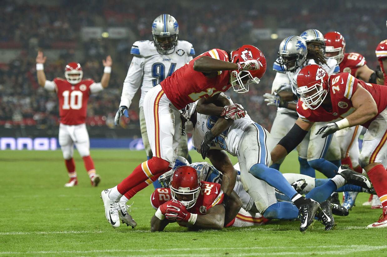 Kansas City Chiefs og Detroit Lions i en NFL-kamp på Wembley i London 1. november 2015.