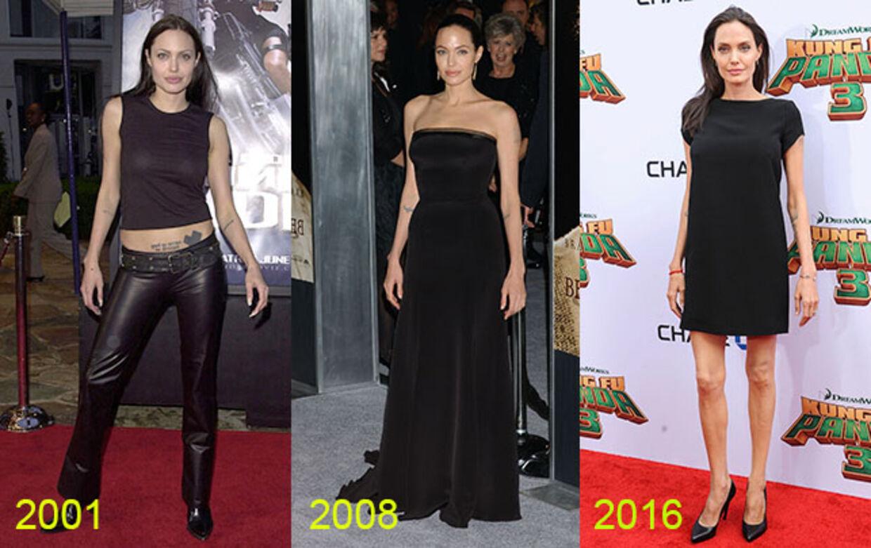 Angelina Jolie har aldrig hørt til de største, men set hen over de seneste 15 år er den aktuelle udgave tyndere end nogensinde. Foto: All Over