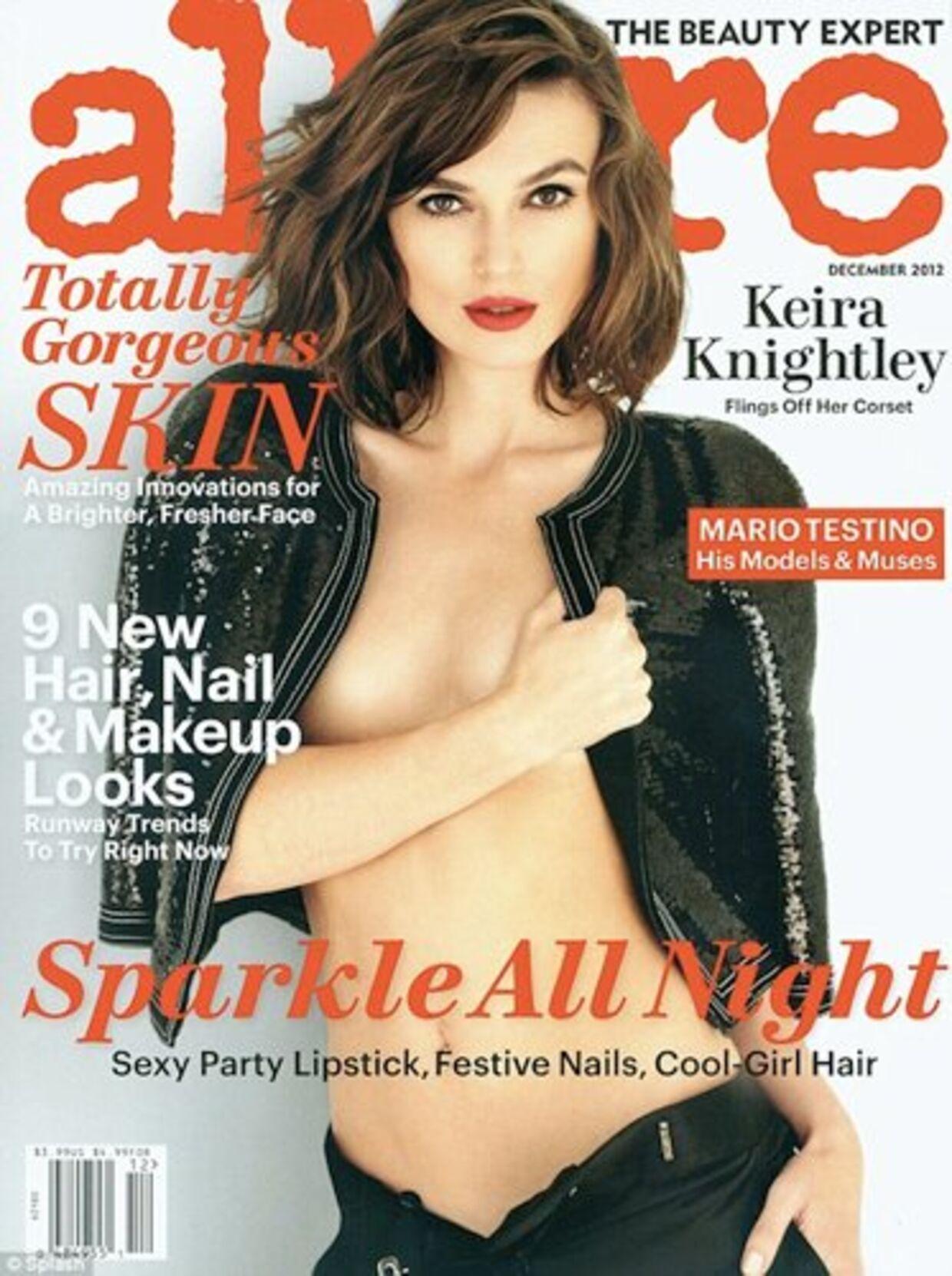 På forsiden af bladet Allure ser det ud som om, at Keira Knightleys brystvorte er forsvundet