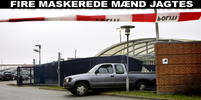 Fire maskerede mænd begik torsdag morgen ved 08-tiden røveri mod Danske Banks fordelingscentral i Brabrand ved Århus, oplyser politiet.