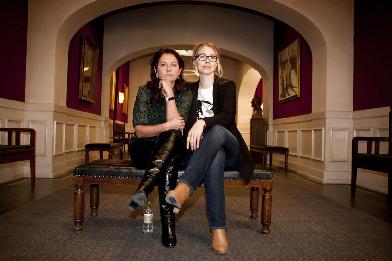 Sidse Babett Knudsen og Birgitte Hjort Sørensen ved pressemødet forud for DRs tredie sæson af Borgen, torsdag den 20. december 2012 i Ørestaden. (Foto: Andreas Beck/Scanpix 2012)