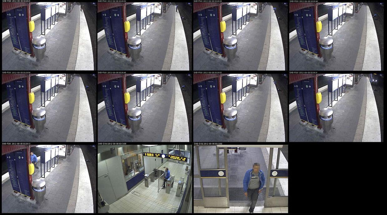Billeder fra den overvågningsvideo, hvor en mand bestjæler en fuld mand, som er væltet ned på skinnerne og derefter efterlader ham hjælpeløs.