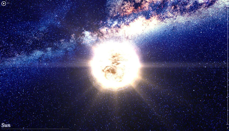 Her er vores egen sol med resten af Mælkevejen i baggrunden, som den ser ud i Google-eksperimentet '100.000 Stars', der viser vores galakse interaktivt.