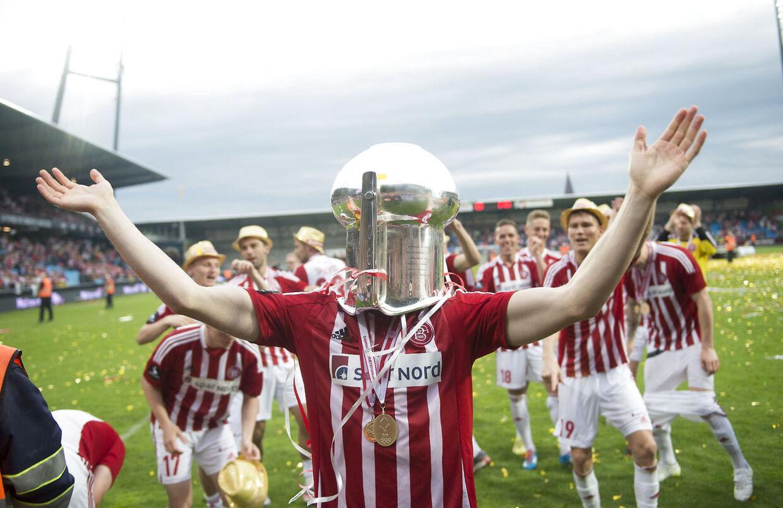 Superligakamp: AAB - AGF. AAB vandt Guld. Her er det Nicolaj Thomsen fra AAB.