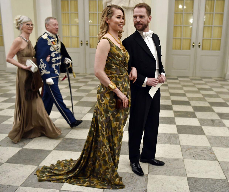Skuespiller Birgitte Hjort Sørensen og journalist Mikkel Frey Damgaard ankommer til gallamiddag på Christiansborg Slot tirsdag d. 17 marts 2015 i anledning af det hollandske kongepars besøg.