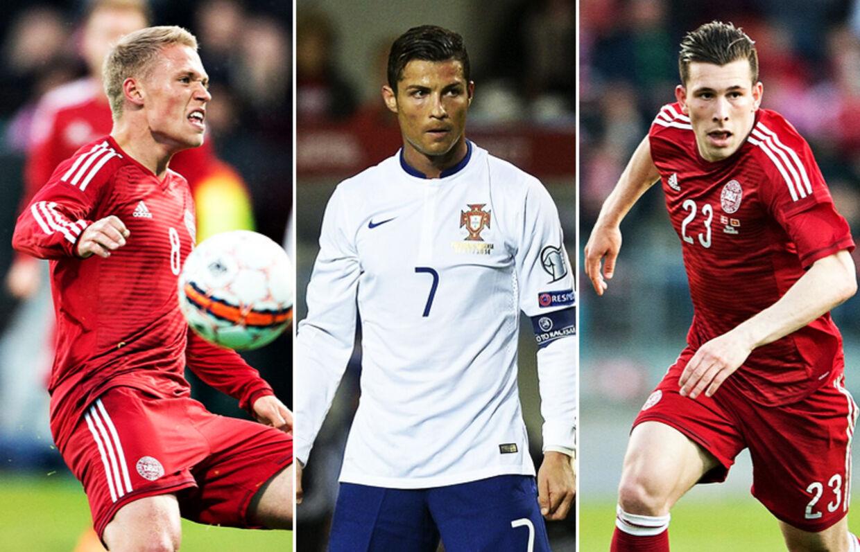 Fra venstre: Viktor Fischer, Cristiano Ronaldo og Pierre-Emile Højbjerg