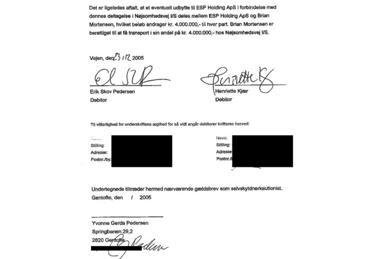 Underskriften på selvskyldnerkautionen, som Erik Skov Pedersens mor Yvonne Gerda Pedersen nægter at have underskrevet. B.T. har overdækket de to vitterlighedsvidner.