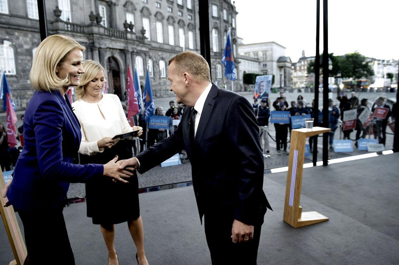 Helle Thorning-Schmidt (S) og Lars Løkke Rasmussen (V) i debat hos TV2 torsdag aften.