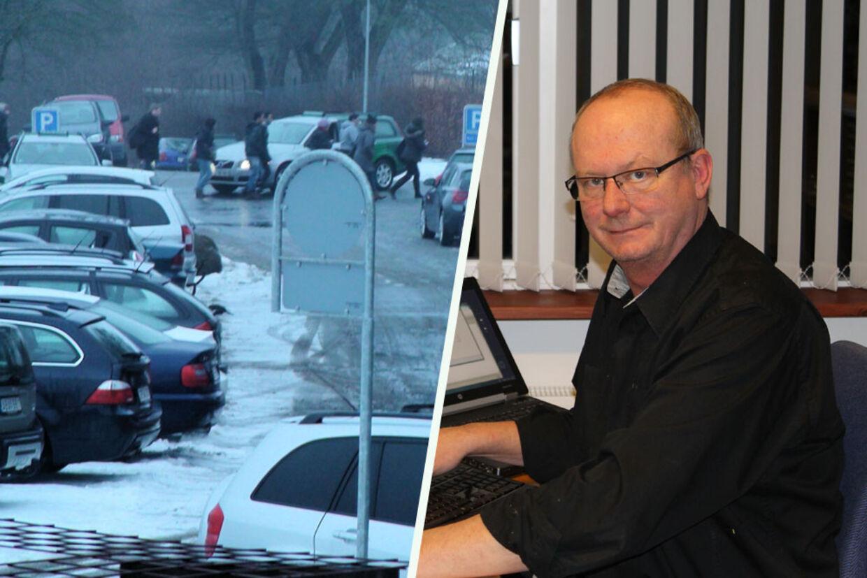 Per Ove Poulsen er træt af, at parkeringspladsen foran hans firma konstant er fyldt op af biler, der holder ulovligt parkeret.