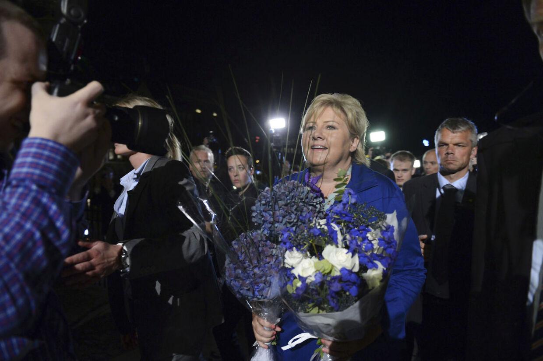 Erna Solberg blev den store vinder ved valget i Norge mandag, og nu sætter hun sig i statsministerstolen.