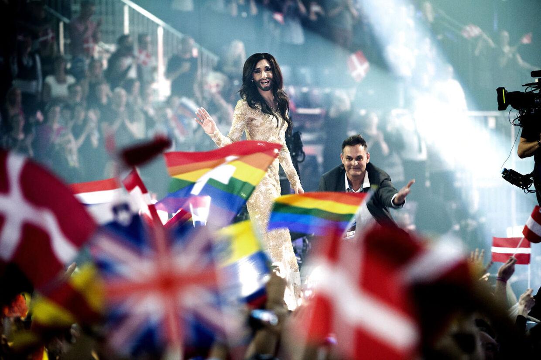 København var værtsby, da den opsigtsvækkende vinder blev kåret. Det blev den skæggede drag queen Conchita Wurst fra Østrig, der vandt Det Europæiske Melodi Grand Prix i København lørdag med sangen
