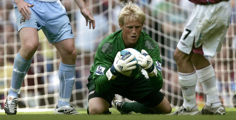 Kasper Schmeichel, da han stod på mål for Manchester City tilbage i 2007