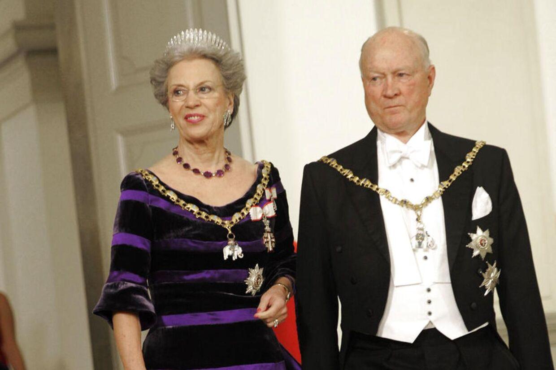Her ankommer Prins Richard og prinsesse Benedikte af Berleburg til gallataffel på Christiansborg Slot søndag 15. januar 2012 i anledning af Dronning Margrethes 40 års regeringsjubilæum (Foto: Keld Navntoft/Scanpix 2012)