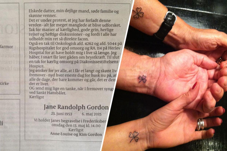 Jane Randolph Gordon og hendes datter og mand fik alle tatoveringer, der repræsenterer deres stærke trekløver, da Jane fik konstateret kræft igen i 2011.