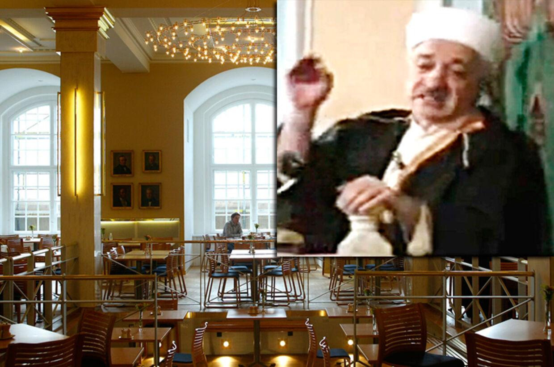 Den mystiske sektleder Fethullah Gülen bor i USA, hvor han opvartes og tilbedes af 100 disciple. På det indsatte billede ses han af i en YouTube-video. hvor han taler til sine tilhængere.