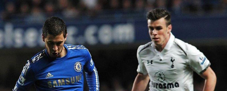 Eden Hazard (tv) og Gareth Bale (th) har begge svært ved at få spillet til at køre i deres klubber og kan blive brikker i en stor byttehandel.