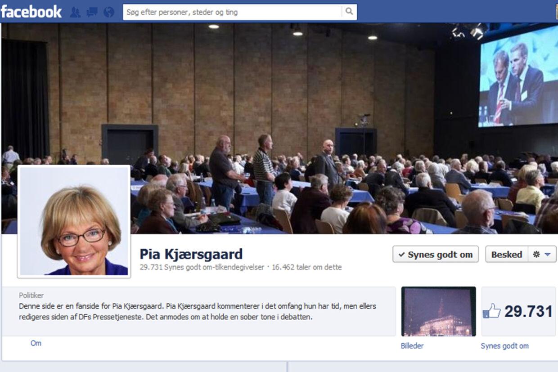 Pia Kjærsgaards profil på facebook.