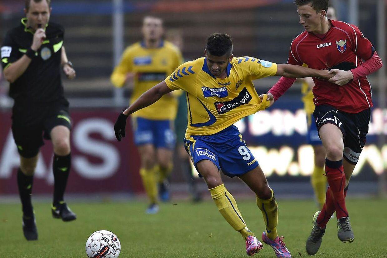 Vestsjælland fik ikke sæsonsejr nummer top i mødet med Vendsyssel. Her Mathias Hebo i en kamp tidligere på måneden, hvor Skive var modstanderen