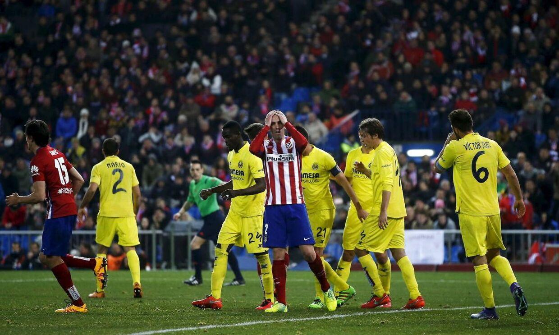 Atlético Madrid (blå bukser) måtte nøjes med 0-0 hjemme mod Villarreal.
