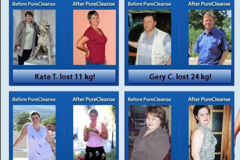 Ifølge Nathan's Natural LLC har Kate, Gery, Rosemary og Paige tabt masser af kilogram med selskabets produkt PureCleanse. Selskabet hævder dog på hjemmesider for Nuvoryn, at vægttabet skyldes dette produkt. På dansk hedder de fire Kathrine, Gert, Rose-Marie og Pia.