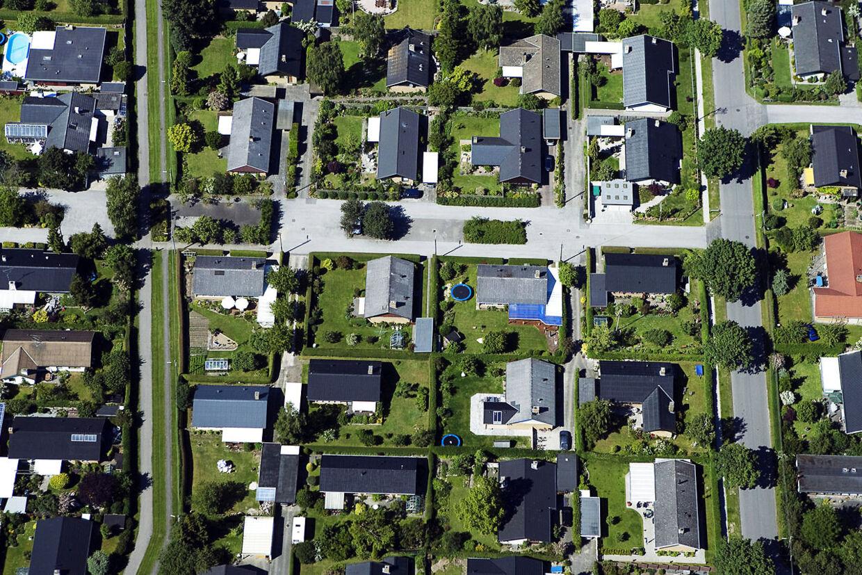 Arkiv: Villakvarter set fra luften.