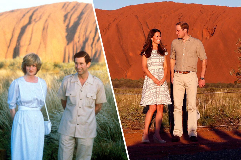 Prins Charles sammen med nu afdøde prinsesse Diana tilbage i 1983. I 2014 var det så de unge menneskers tur til at blive fotograferet ved Ayers Rock i Australien.