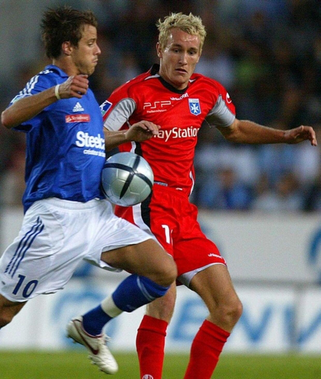 Thomas Kahlenberg fik en fornuftig fransk debut, da Auxerre lørdag aften spillede 0-0 med Strasbourg. Foto: AFP.