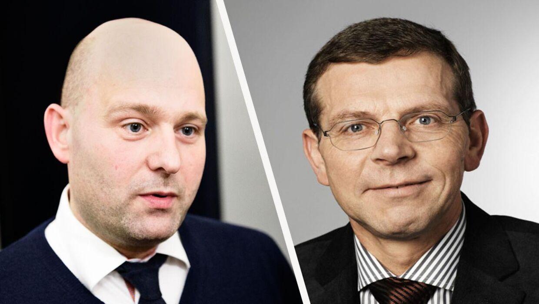 Den Konservative borgmester i Vesthimmerlands Kommune, Knud Kristensen (th), kalder Søren Pape Poulsens beslutning om at trække tæppet væk under Eva Kjer Hansen (V) for 'pinlig'.