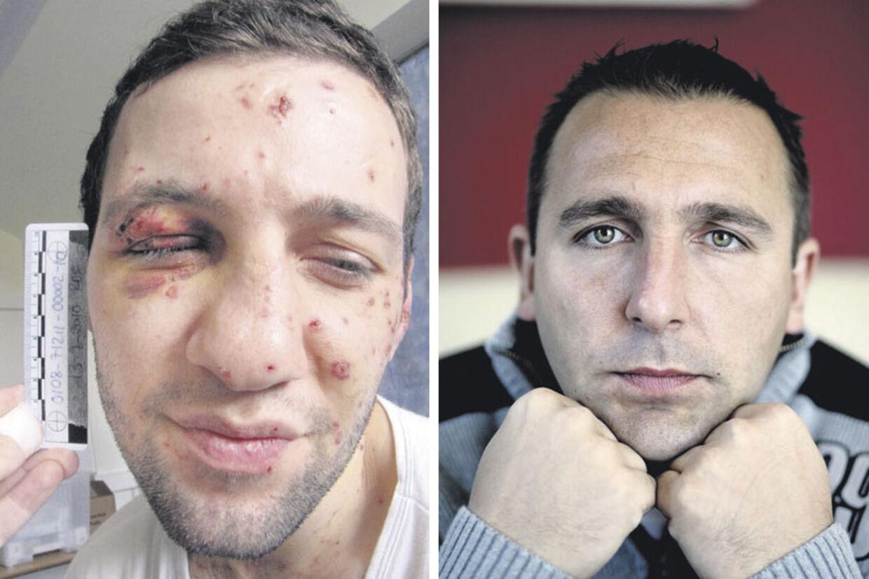 Boksetræner Fabien Detaille (til højre) underde sig, da Lors Doukaiev (til venstre) dukkede op til boksetræning i en dyr BMW. Bombemanden ville ikke svare på, hvor han havde den fra.